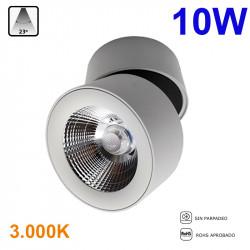 Foco de superficie LED, Serie LC1298-M, armazón de aluminio en acabado blanco, 10W 800lm 23º de apertura, 3.000K