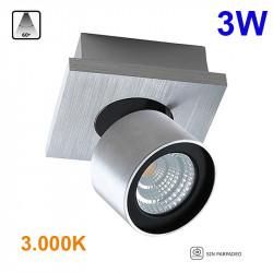 Foco de superficie LED, Serie LC258, armazón de aluminio en acabado alumino cepillado, 1 luz orientable 350º-90º. 3W