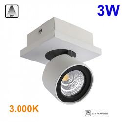 Foco de superficie LED, Serie LC258, armazón de aluminio en acabado blanco, 1 luz orientable