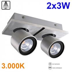 Foco de superficie LED, Serie LC258, armazón de aluminio en acabado aluminio cepillado, 2x3W 2x240lm 3.000K 60º de apertura