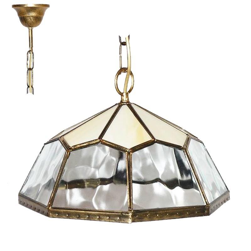 Lámpara de techo colgante, estilo granadino, armazón metálico en acabado dorado, 1 luz, con cristal opalina y gótico, Ø 30 cm.