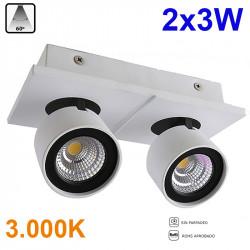 Foco de superficie LED, Serie LC258, armazón de aluminio en acabado blanco, 2x3W 2x240lm 3.000K 60º de apertura