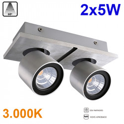 Foco de superficie LED, Serie LC258, armazón de aluminio en acabado aluminio cepillado, 2x5W 2x400lm 3.000K 60º de apertura