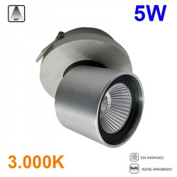 Foco empotrable LED, Serie LC260, armazón de aluminio en acabado cepillado, 1x5W 400lm 3.000K, 60º de apertura