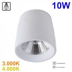 Foco de superficie LED, Serie LC1312-M, armazón de aluminio en acabado blanco, 10W 800lm 23º de apertura