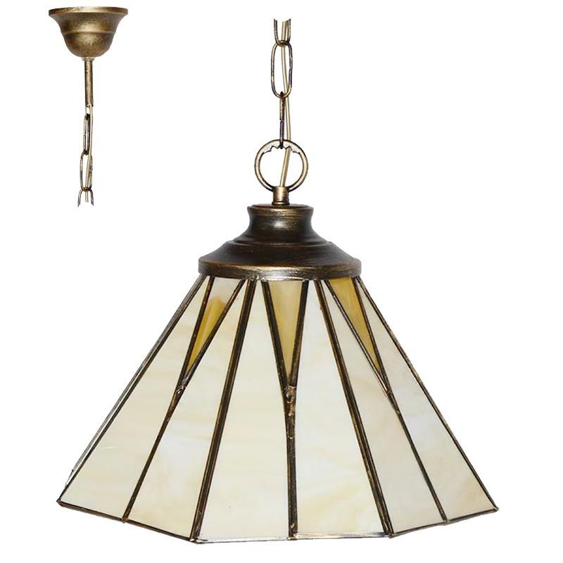 Lámpara de techo colgante, estilo granadino, armazón metálico en acabado oro viejo, 1 luz, con cristal opalina y transparente.