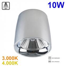 Foco de superficie LED, Serie LC1312-M, armazón de aluminio en acabado cromo brillo, 10W 800lm 23º de apertura