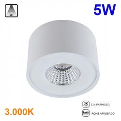 Foco de superficie LED, Serie LC1400, armazón de aluminio en acabado blanco, 5W 400lm 3.000K