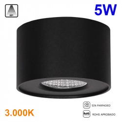 Foco de superficie LED, Serie LC1400, armazón de aluminio en acabado negro grafito, 5W 400lm 3.000K, 60º de apertura.