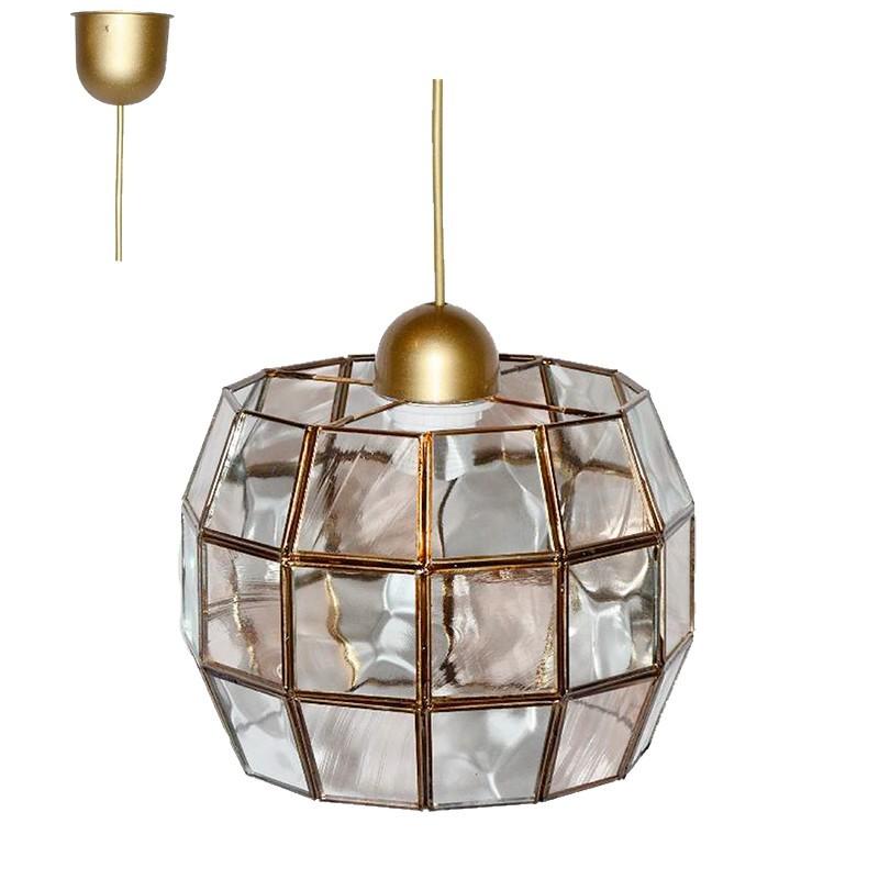 Lámpara de techo colgante, estilo granadino, armazón metálico en acabado doado, 1 luz, con cristal opalina y transparente.