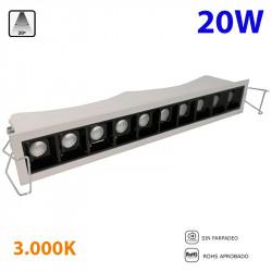 Bañador de pared empotrable LED, Serie LC013, armazón de aluminio en acabado blanco texturizado, 20W 1400lm 3.000K