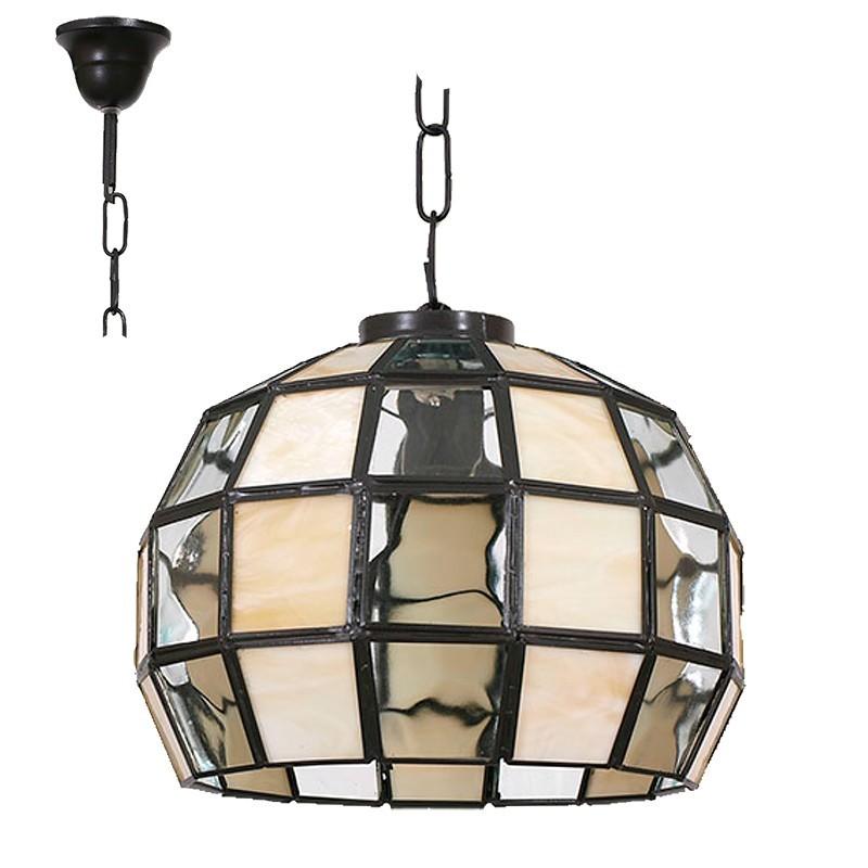 Lámpara de techo colgante, estilo granadino, armazón metálico en acabado negro, 1 luz, con cristal opalina y transparente.