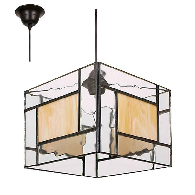 Lámpara de techo colgante, estilo granadino, cuadrado, con cristal opalina y transparente.