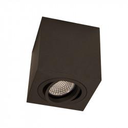 Foco de superficie LED, armazón metálico cuadrado en acabado negro texturizado, 1xGU10. Orientable.