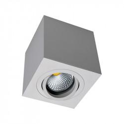 Foco de superficie LED, armazón metálico cuadrado en acabado blanco texturizado, 1xGU10. Orientable.