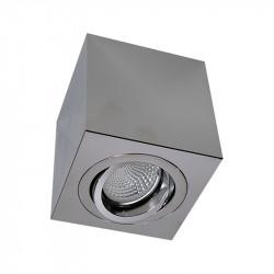 Foco de superficie LED, armazón metálico cuadrado en acabado cromo brillo, 1xGU10. Orientable.