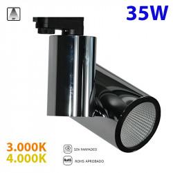 Foco de carril trifásico LED, Serie LC1562, armazón metálico en acabado negro grafito, 35W 2.465lm 38º de apertura