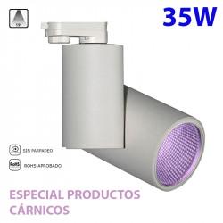 Foco de carril trifásico LED, Serie LC1562, armazón metálico en acabado blanco texturizado, 35W 2.465lm 15º de apertura.