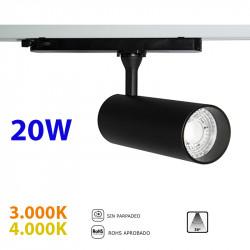 Foco de carril trifásico LED, Serie LC064, armazón metálico en acabado negro texturizado, 30W 2.250lm 36º de apertura