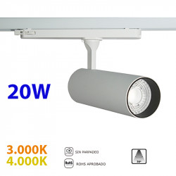 Foco de carril trifásico LED, Serie LC064, armazón metálico en acabado blanco texturizado, 30W 2.250lm 36º de apertura