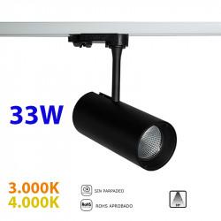 Foco de carril trifásico LED, Serie LC005, armazón metálico en acabado negro texturizado, 33W 2.800lm 38º de apertura.