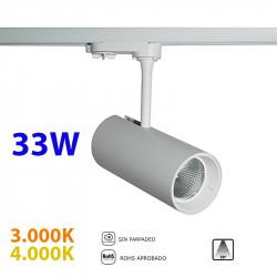 Foco de carril trifásico LED, Serie LC005, armazón metálico en acabado blanco texturizado, 33W 2.800lm 38º de apertura