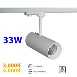 Foco de carril trifásico LED, Serie LC005, armazón metálico en acabado blanco texturizado, 33W 2.800lm 15º de apertura,