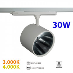 Foco de carril trifásico LED, Serie LC068, armazón metálico en acabado blanco texturizado, 30W 2.250lm 9º de apertura,