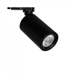 Foco de carril trifásico LED, Serie NC2189, armazón metálico en acabado negro texturizado, 1xGU10. Orientable.