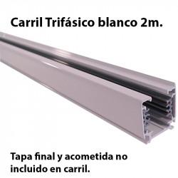 Carril trifásico, en acabado blanco 2 metros. Tapa final y acometida no incluido en carril.
