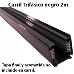 Carril trifásico, en acabado negro 2 metros. Tapa final y acometida no incluido en carril.