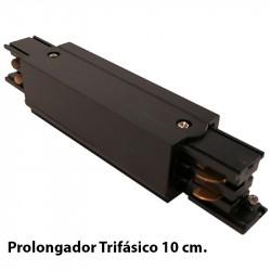 Prolongador Trifásico 10 cm, en acabado negro.