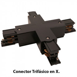 Conector Trifásico en X, en acabado negro.