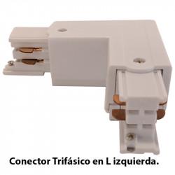 Conector Trifásico en L izquierda, en acabado blanco.