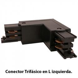 Conector Trifásico en L izquierda, en acabado negro.