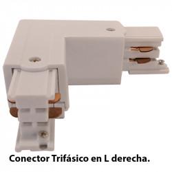 Conector Trifásico en L derecha, en acabado blanco.