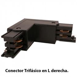 Conector Trifásico en L derecha, en acabado negro.
