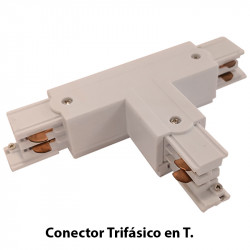 Conector Trifásico en T izquierda, en acabado blanco.