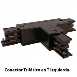 Conector Trifásico en T izquierda, en acabado negro.