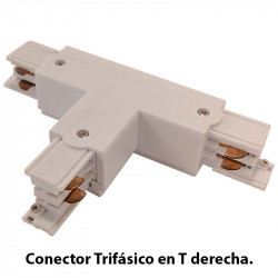 Conector Trifásico en T derecha, en acabado blanco.
