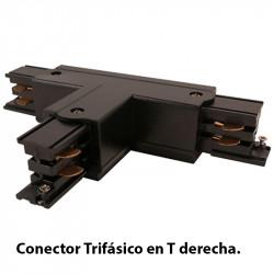 Conector Trifásico en T derecha, en acabado negro.