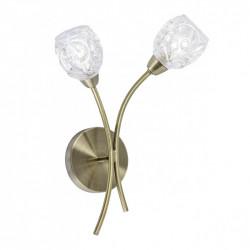 Aplique de pared clásico con tulipa, Serie Garbo, armazón metálico en acabado cuero, 2 luces