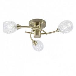 Lámpara de techo clásico con tulipa, Serie Garbo, armazón metálico en acabado cuero, 3 luces, con difusores de vidrio soplado