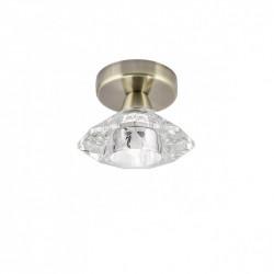 Foco de 1 luz, Serie Chic, armazón metálico en acabado cuero, con difusor de cristal en acabado transparente.