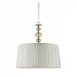 Lámpara de techo colgante clásico, Serie Aurora, armazón metálico en acabado cuero, 1 luz, con pantalla Ø 40 cm en tela beis.