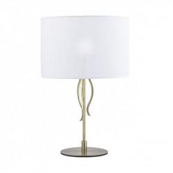 Lámpara de sobremesa clásico con pantalla, Serie Dana, armazón metálico en acabado cuero, 1 luz, con pantalla