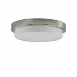 Lámpara plafón moderno, Serie Disco, armazón metálico en acabado níquel satinado, 3 luces, con difusor de cristal.