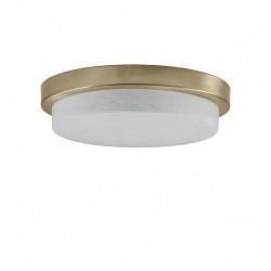 Lámpara plafón moderno, Serie Disco, armazón metálico en acabado cuero, 3 luces, con difusor de cristal.