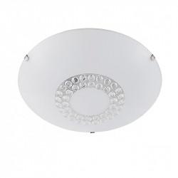 Lámpara plafón moderno, Serie Sacha, armazón metálico, 2 luces, con difusor de vidrio decorado.