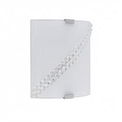 Aplique de pared moderno, Serie Tiara, armazón metálico, 1 luz, con difusor de vidrio curvado y decorado.